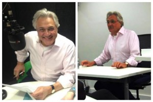 Veteran broadcaster John Suchet presented Classic FM from LJMU Redmonds before giving a guest talk to students. Pics © John Suchet / Twitter and Astra Armitt / JMU Journalism