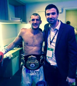 Derry Mathews with JMU Journalism's Sean Purvis after the fight