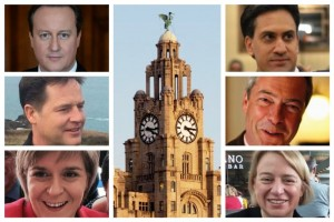 Party leaders (clockwise from top left): David Cameron (Conservatives); Ed Miliband (Labour); Nigel Farage (UKIP); Natalie Bennett (Greens); Nicola Sturgeon (Scottish Nationalists); Nick Clegg (Lib Dems). Pics © Twitter