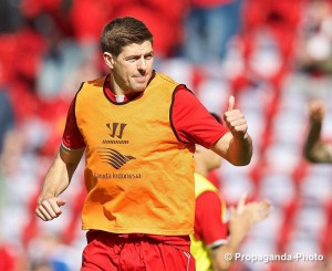 Thumbs up from Steven Gerrard before his last game for Liverpool at Anfield. Pic © David Rawcliffe / Propaganda Photo
