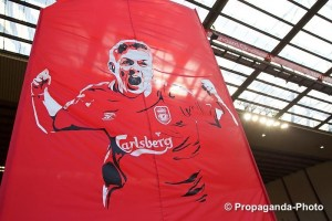 Kop banner paying tribute to Steven Gerrard ahead of his last game for Liverpool at Anfield. Pic © David Rawcliffe / Propaganda Photo