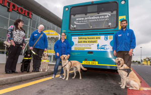 Members of The Guide Dogs for the Blind Association launching the talking service © Arriva North West