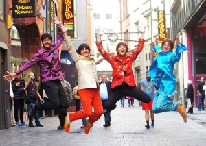 The cast of Let It Be in Liverpool's Mathew Street. Pic © Bond Media