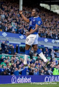 Everton's Romelu Lukaku equalised in the Merseyside derby at Goodison Park. Pic © David Rawcliffe / Propaganda Photo