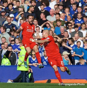 Liverpool's Danny Ings opened the scoring in the Merseyside derby at Goodison Park. Pic © David Rawcliffe / Propaganda Photo
