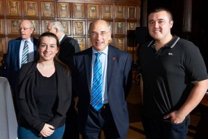 JMU Journalism students Christy Jade Biggar (left) and James Knowles (right) with Chancellor Sir Brian Leveson (centre). Pic © LJMU