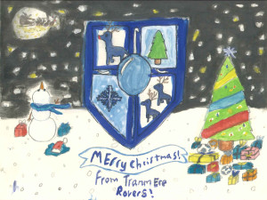 The winning Christmas card features three reindeer instead of TRFC's usual three lions. Pic by Anyah Kent © Tranmere Rovers FC