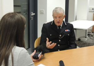 Merseyside Police Chief Constable Sir Jon Murphy talks to JMU Journalism's Laura Gilchrist. Pic by Amy Cole © JMU Journalism