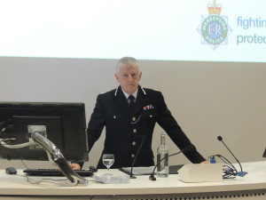 Merseyside Police Chief Constable Sir Jon Murphy gave a lecture at LJMU. Pic by Amy Cole © JMU Journalism