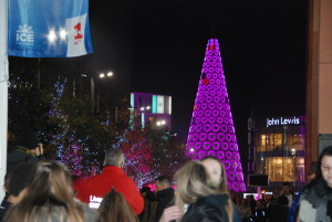 Thousands turn out to watch Christmas tree switch on. Pic © JMU Journalism