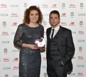 Danielle Gibbons recieving her special recognition award © Liverpool FC