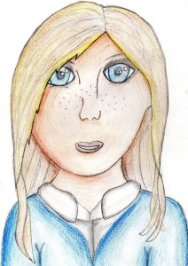 Foster carer Lynne Gamlin first noticed Anyah's talent after she drew this self portrait. Pic © Anyah Kent