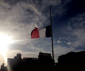 French flag flies at half-mast at Liverpool Town Hall following the Paris terrorism attacks. Pic by Hannah Hodgson © JMU Journalism