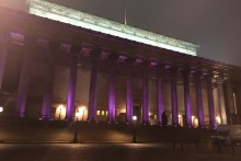 St George's Hall was one many landmarks to light up in purple for Pancreatic Cancer Awareness Month.