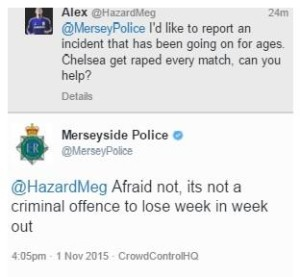 Merseyside Police replied to another Twitter user making a reference to rape. Screengrab © Twitter