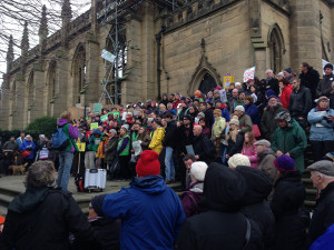 Activists gather outside the Bombed Out Church, St Luke's for the climate change march. Pic by Barry Rocks © JMU Journalism