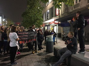 """Pauline, Liam's mother spoke to the crowd on Church Street, telling them, """"I have lost my best friend."""" Pic by Christy Jade Biggar © JMU Journalism"""