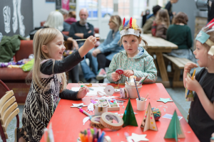 Children practising their festive crafts © Michael Kirkham Photography