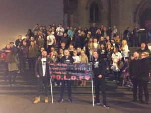 The Invisible campaign group stand proudly with Liam Fletcher's friends and family at St Luke's Church before the memorial walk starts