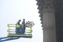 The iconic 'Weeping Window' poppies have now arrived in Liverpool and are being prepared for display.
