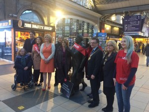 Councillors and campaigners, including the Lord Mayor, gather at Lime street station © JMU Journalism