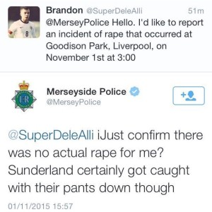 Merseyside Police replied to a Twitter user making a reference to rape. Screengrab © Twitter
