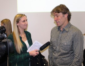 JMU Journalism's Hannah Hodgson talks to John Bishop. Pic by Conor Allison © JMU Journalism