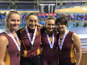 The women's indoor rowing silver medallists. Rebecca Andrews, 19, Michelle Fisher, 36, Jayne Pumford, 33, and Vanessa Eddie, 25. Pic © Rebecca Andrews