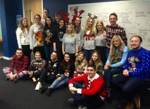 The Liverpool Life newspaper team on JMU Journalism Christmas Jumpers Newsdays 2015