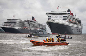 The New Brighton RNLI escorts the Three Queens into the River Mersey last May. Pic © Bob Warwick, RNLI