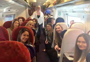 JMU Journalism students on the train to London