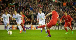 James Milner scored the only goal for Liverpool against Augsburg from the penalty spot. Pic © David Rawcliffe / Propaganda Photo