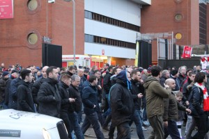 Liverpool supporters leave Anfield in protest against new ticket prices in the 77th minute against Sunderland. Pic by Connor Lynch © JMU Journalism