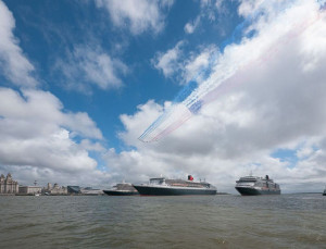 Red Arrows fly over the Three Queens on the River Mersey. Pic © Bob Warwick, RNLI