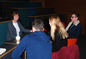 Tim Hetherington's mother Judith chats to JMU Journalism reporters after the guest lecture. Pic by Caoimhe Harkin © JMU Journalism