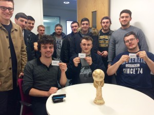 Front row: captains Josh Doherty, Liam Keen and Steven Carson surrounded by team members of the third years at the 2016 JMU Journalism World Cup draw