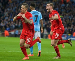 Philippe Coutinho gave Liverpool hope when he equalised to send the Capital One Cup Final to extra-time against Manchester City. Pic © David Rawcliffe / Propaganda Photo