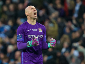 Manchester City goalkeeper Willy Caballero saved three Liverpool shoot-out penalties in the Capital One Cup Final at Wembley. Pic © David Rawcliffe / Propaganda Photo