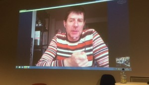Stephen Mayes talks about Tim Hetherington from New York via Skype at the guest lecture