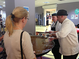 Hospital catering staff serve Scouse to staff, patients and fundraising supporters. Pic © JMU Journalism