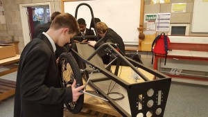 St Margaret's Academy pupils working on their eco-car. Pic © St Margaret's Academy