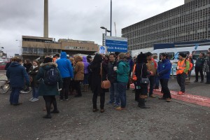 Junior doctors protest outside the Royal Liverpool University Hospital this morning. Pic by Tiernan McGee © JMU Journalism