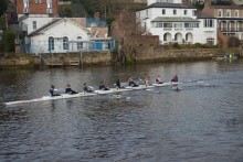 LJMU rowers crossed the finishing line in celebration after defeating rivals, University of Liverpool Boat Club