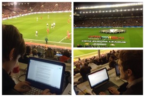 Leigh Kimmins and Michael Henry working for JMU Journalism at Liverpool's Europa League match against Manchester United. Pics © JMU Journalism