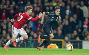 Liverpool's Philippe Coutinho sets off on his way to scoring against Manchester United in the Europa League at Old Trafford. Pic © David Rawcliffe / Propaganda Photo
