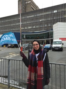 Nusiba Taufik, one of the local representatives for the Mersey Regional Junior Doctors Committee. Pic by Tiernan McGee © JMU Journalism