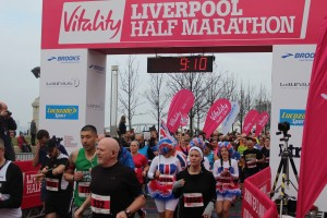 Participants set off on the Liverpool Half Marathon. Pic by Connor Lynch © JMU Journalism