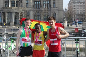 Medal winners in the Liverpool Half Marathon. Pic by © Connor Lynch © JMU Journalism