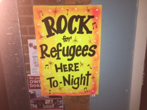 Poster for Rock for Refugees night. Pic © JMU Journalism