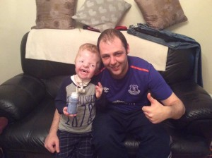Young Daire and family friend Ciaran at the weekend ©Everton supporters, support Daire Facebook